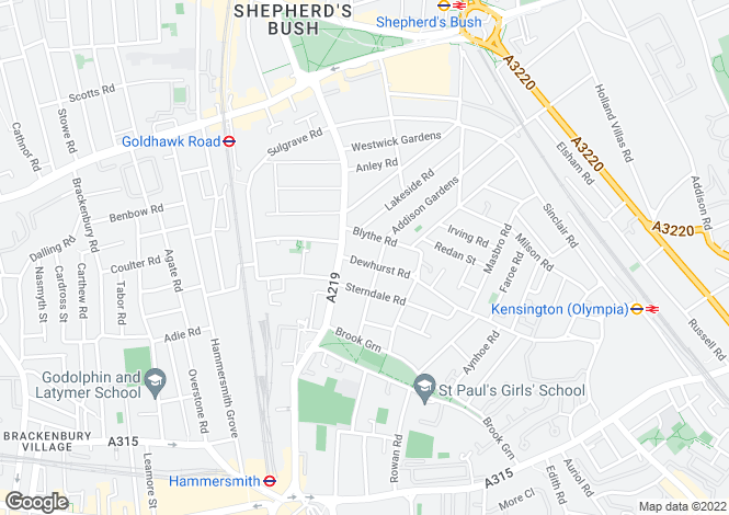 Map for Dewhurst Road, Brook Green, London, W14