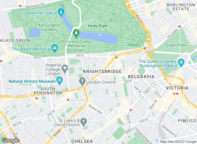 Map for Hobart Slater, Knightsbridge