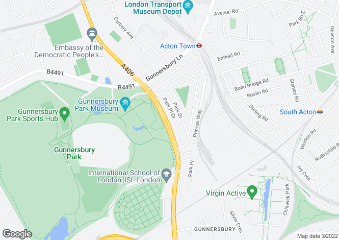 Map for Gunnersbury Avenue, Acton