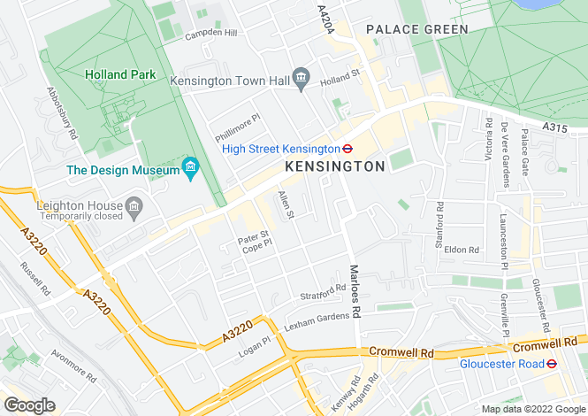 Map for Phillimore Terrace, Allen Street, London, W8 6BJ