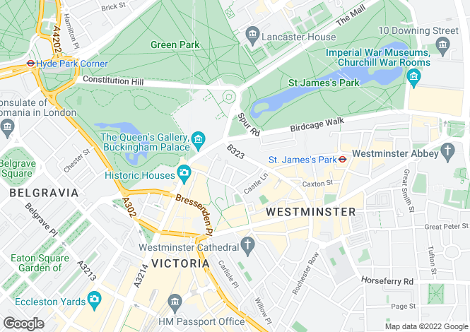 Map for St James's Park, London, SW1E