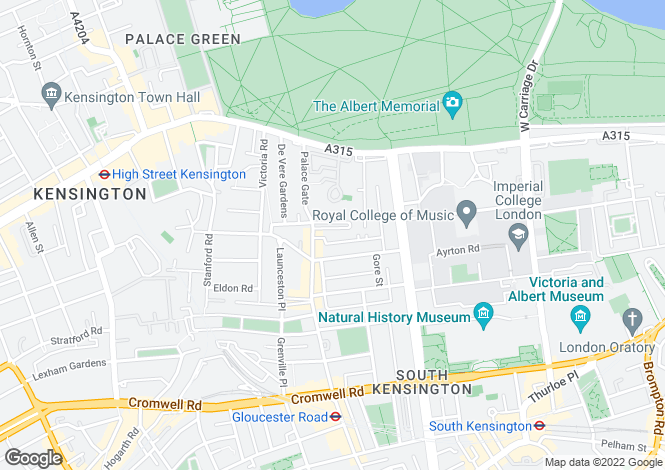 Map for Kensington Gate, London, W8 5NA