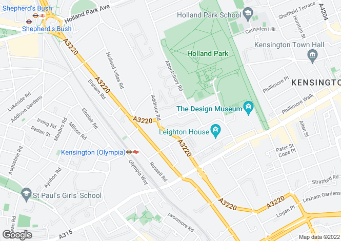 Map for Oakwood Court, Holland Park, W14