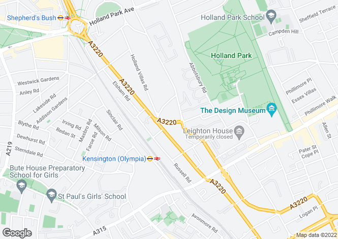 Map for Addison Crescent, London W14