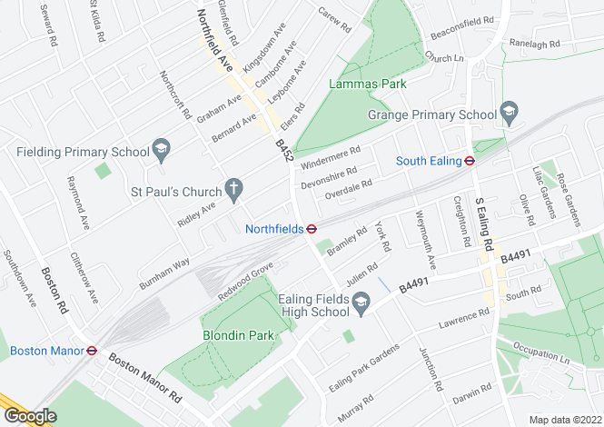Map for Derwent Road, Northfields, London, W5