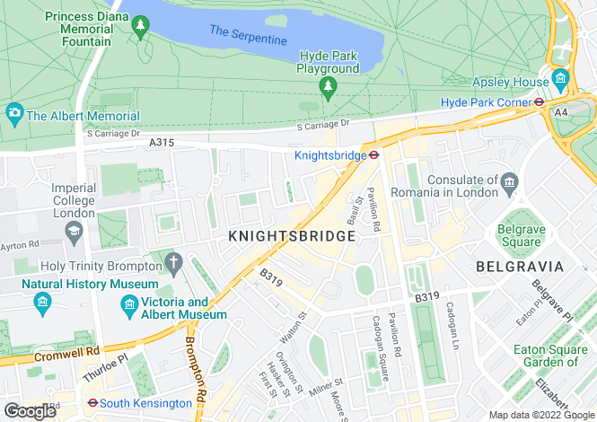 Map for Brompton Road Knightsbridge SW3