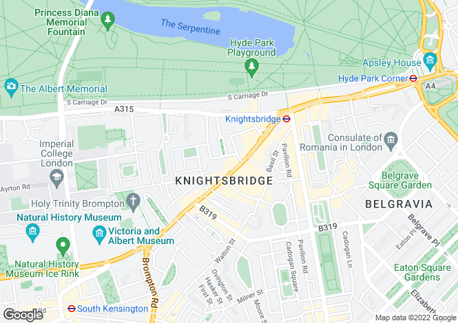 Map for Brompton Road, Knightsbridge,