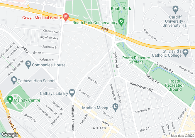 Map for Cathays, Cardiff