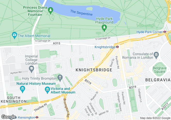 Map for Montpelier Square, Knightsbridge, London, SW7