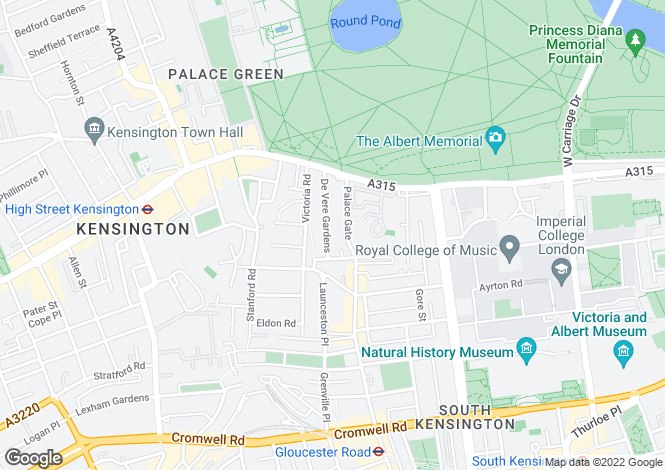 Map for De Vere Gardens, Kensington