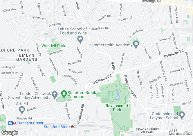 Map for Ashchurch Park Villas, W12