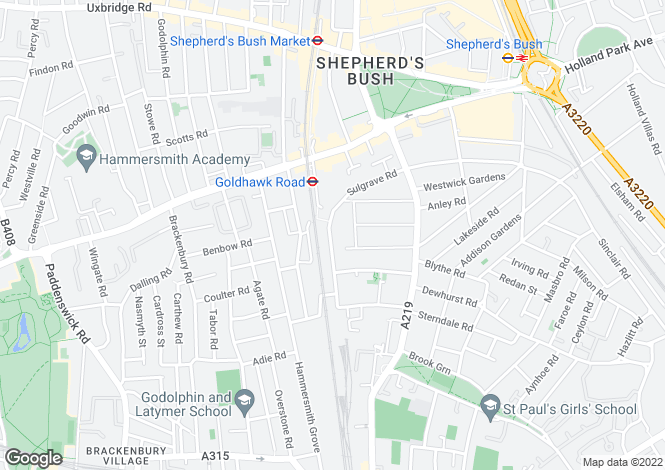 Map for Sulgrave Road, London W6