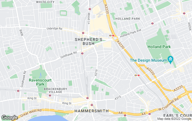 Map for Aston Rowe, Brook Green & Hammersmith