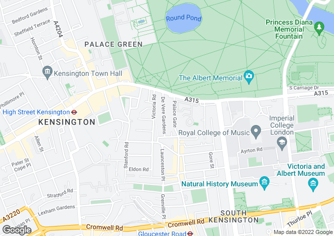 Map for De Vere Gardens, Kensington, London, W8