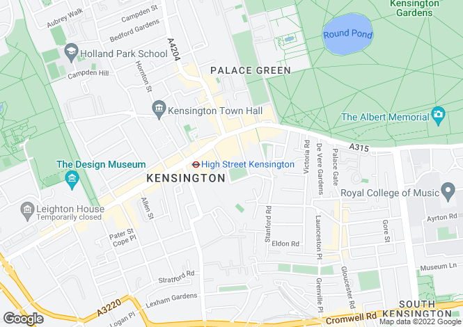 Map for Kensington Square, London, W8