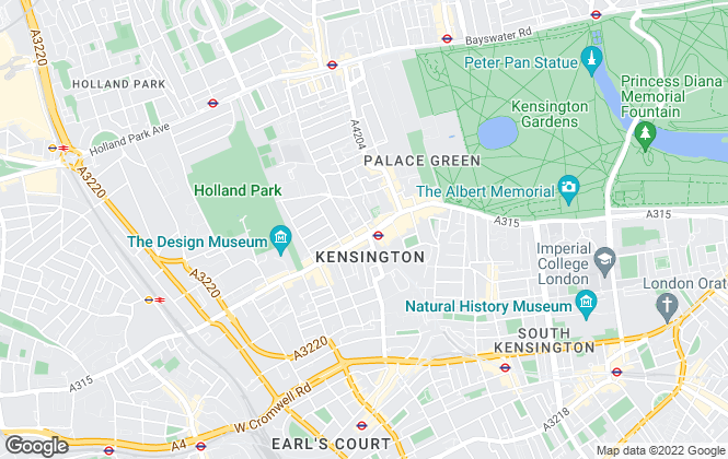 Map for Chestertons Lettings, Kensington