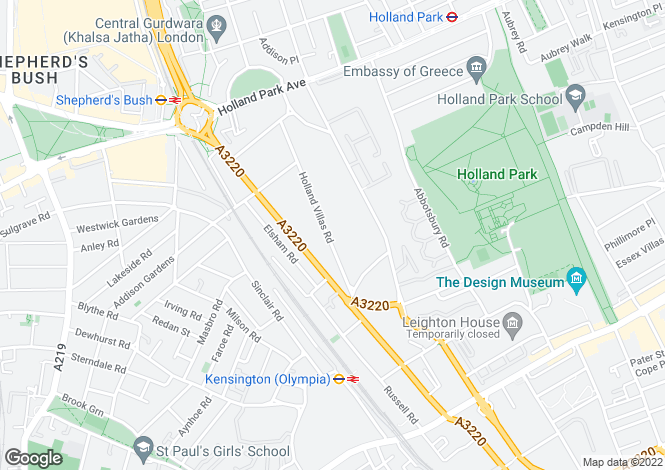 Map for Holland Villas Road, Holland Park, London, W14