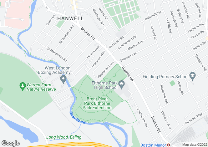 Map for Townholm Crescent, Hanwell, London, W7