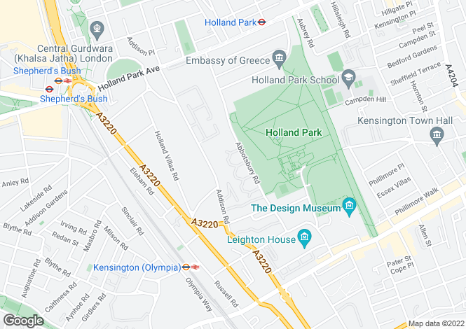 Map for Abbotsbury Close, Holland Park, London, W14