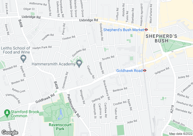 Map for Coningham Road, Shepherds Bush, W12