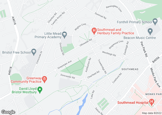 Map for Greystoke Avenue, Southmead , Bristol