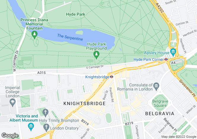 Map for Knightsbridge, London, SW1