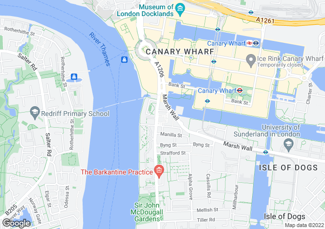 Map for Landmark West Tower, Canary Wharf, E14