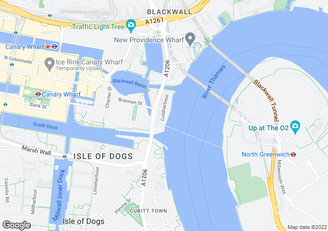 Map for Cold Harbour, Canary Wharf, E14