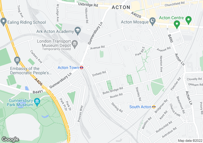 Map for Enfield Road, London W3