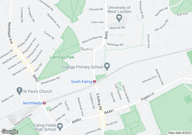 Map for South Ealing Road London W5