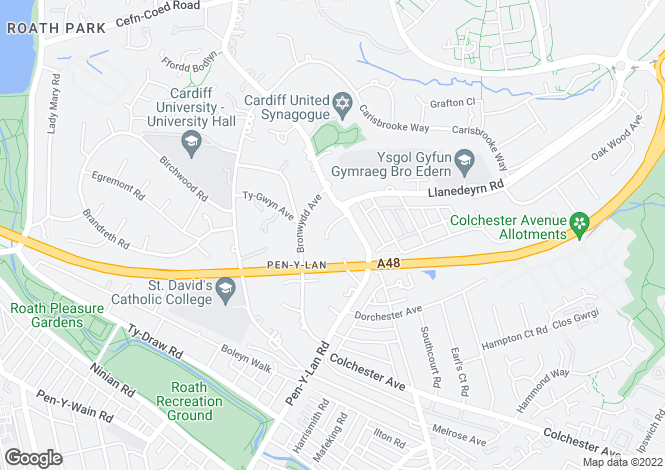 Map for Greenlawns, Penylan, Cardiff
