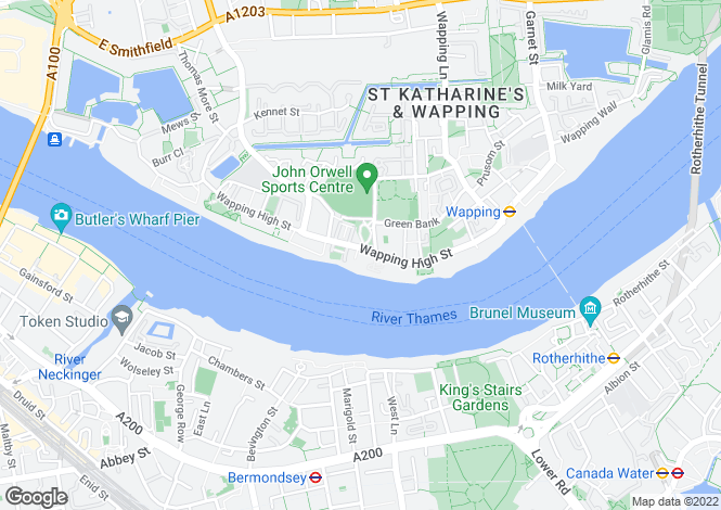 Map for Olivers Wharf, 64 Wapping High Street, London, E1W