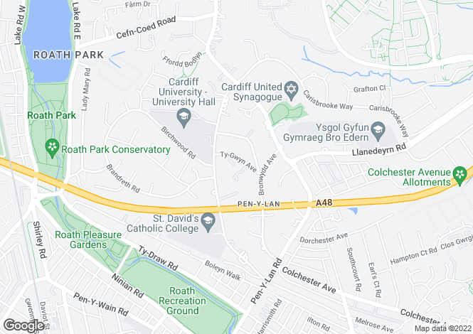 Map for Ty Gwyn Avenue, Penylan, Cardiff