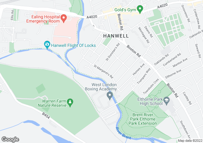 Map for Hanwell Locks, Hanwell