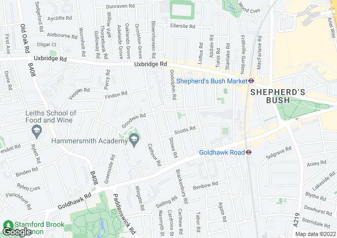 Map for Stowe Road, Shepherds Bush, London W12