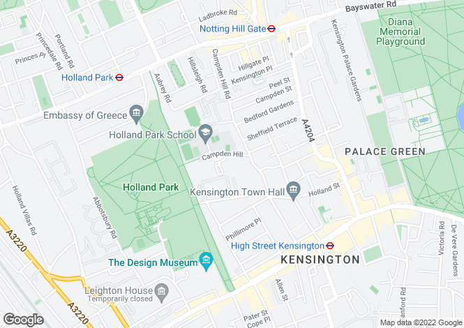 Map for Campden Hill, Kensington, London, W8
