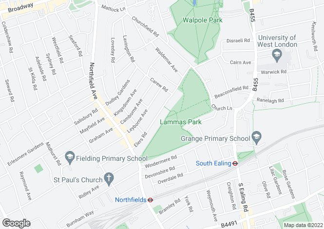 Map for Amherst Road, Ealing, W13