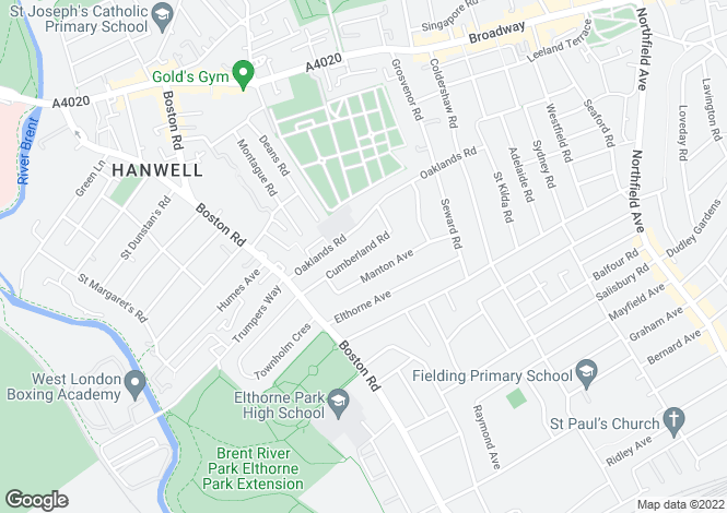 Map for Cumberland Road, Hanwell, London, W7
