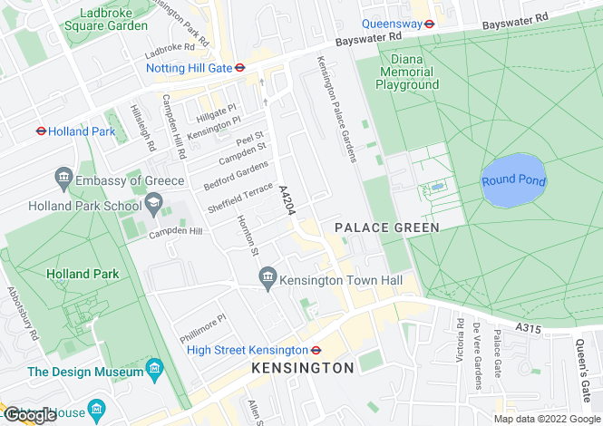 Map for Vicarage Gardens, London, W8