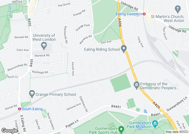 Map for Delamere Road, Ealing, London