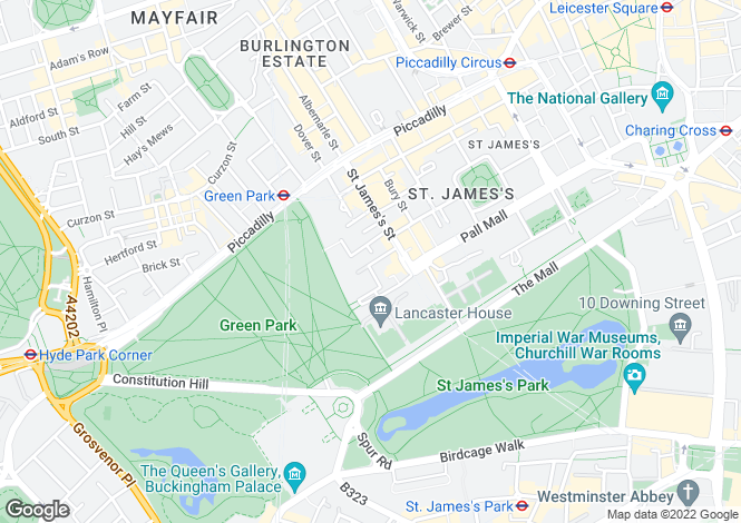 Map for St James's Place, London SW1