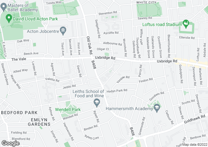 Map for Askew Crescent, Shepherds Bush, London, W12