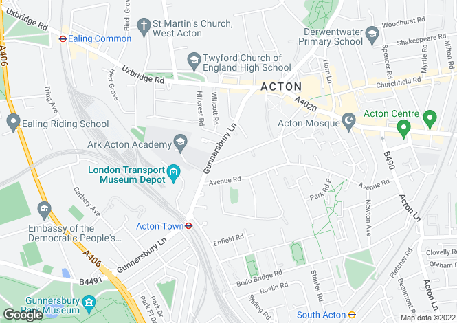 Map for Mill Hill Road, Acton, London