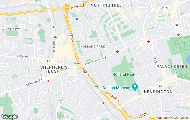 Map for Sandersons, Holland Park & Notting Hill