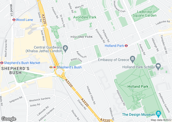 Map for Holland Park Avenue, Holland Park, London, W11