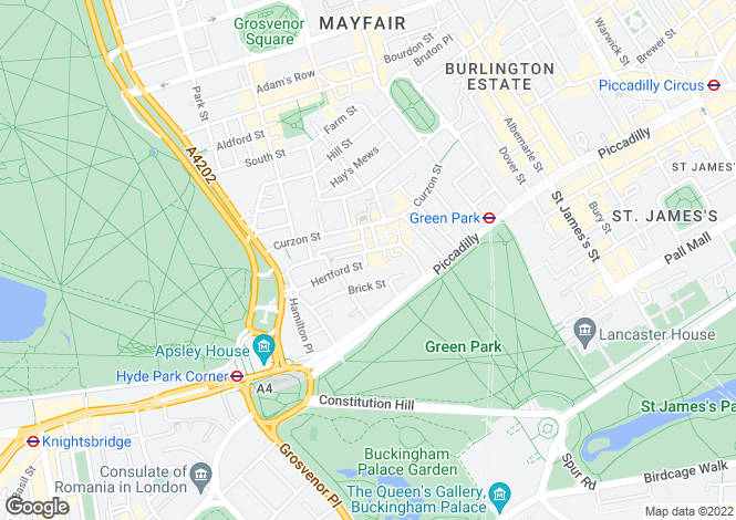 Map for Hertford Street, Mayfair, W1J