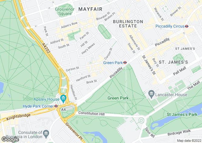 Map for White Horse Street, Mayfair