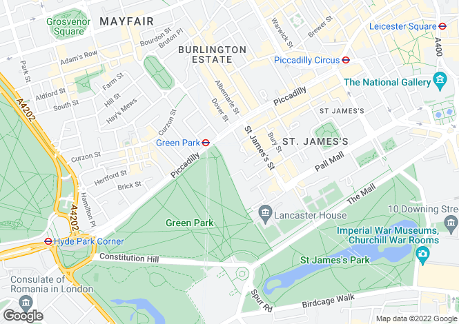 Map for Green Park, St James