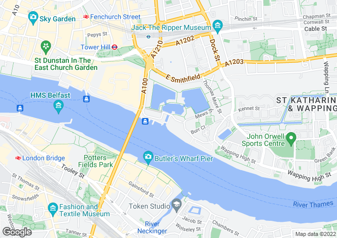 Map for St Katharines Way, Wapping