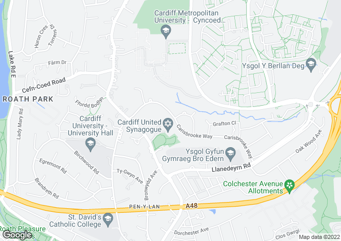 Map for 123 Carisbrooke Way, Cyncoed, Cardiff. CF23 9HU